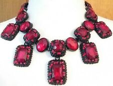 STUNNING FACETED RUBY RED GLASS CRYSTAL AND RHINESTONE BRIDAL RUNWAY NECKLACE
