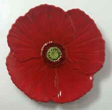 """AMBIANCE """"FLEUR ROUGE FIGURAL"""" RED POPPY SALAD PLATE - MULTIPLES - EXCELLENT"""