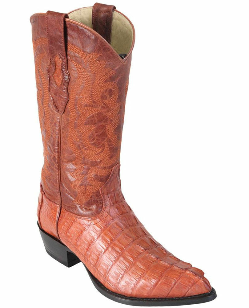 LOS ALTOS MEN COGNAC GENUINE CROCODILE CAIMAN TAIL WESTERN COWBOY J-TOE BOOT (D)