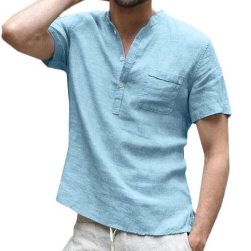 Men/'s Short Sleeve Button Down T Shirt Summer Solid Linen Blouse Tee Soft Tops