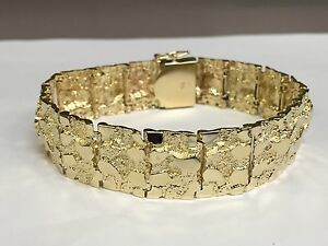 Image Is Loading 10kt Solid Yellow Gold Mens Nugget Bracelet 17