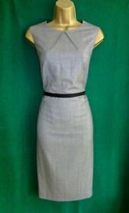 HOBBS-Uk-12-Grey-Black-Fine-Wool-Mix-Pencil-Shift-Office-Work-Dress-IMMACULATE