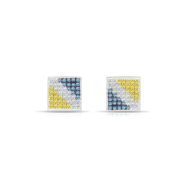 bluee White Yellow Diamond Square Earrings - 14k White gold - 0.60cttw