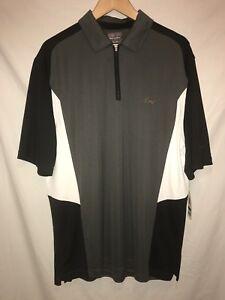 NWT-Greg-Norman-for-Tasso-Elba-Play-Dry-Golf-Polo-Zip-Up-Gray-Black-White