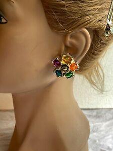 Boucle d'oreilles clip résine Doré sertie de strass de couleurs VINTAGE N°812