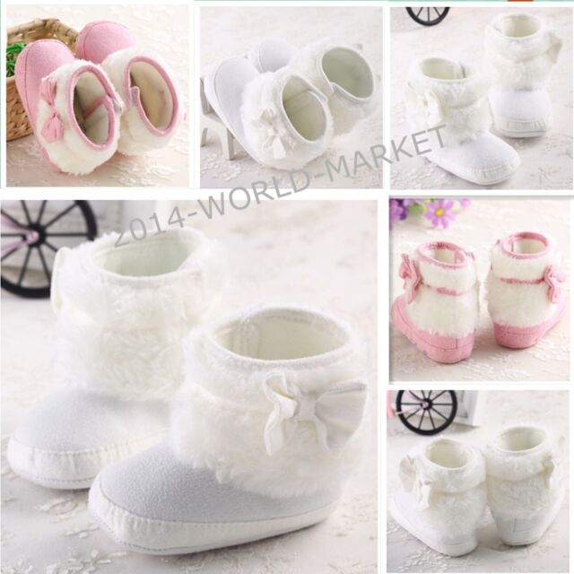 Pink White Baby bootie Shoes size0-18 months toddler girl boots infant New 2014