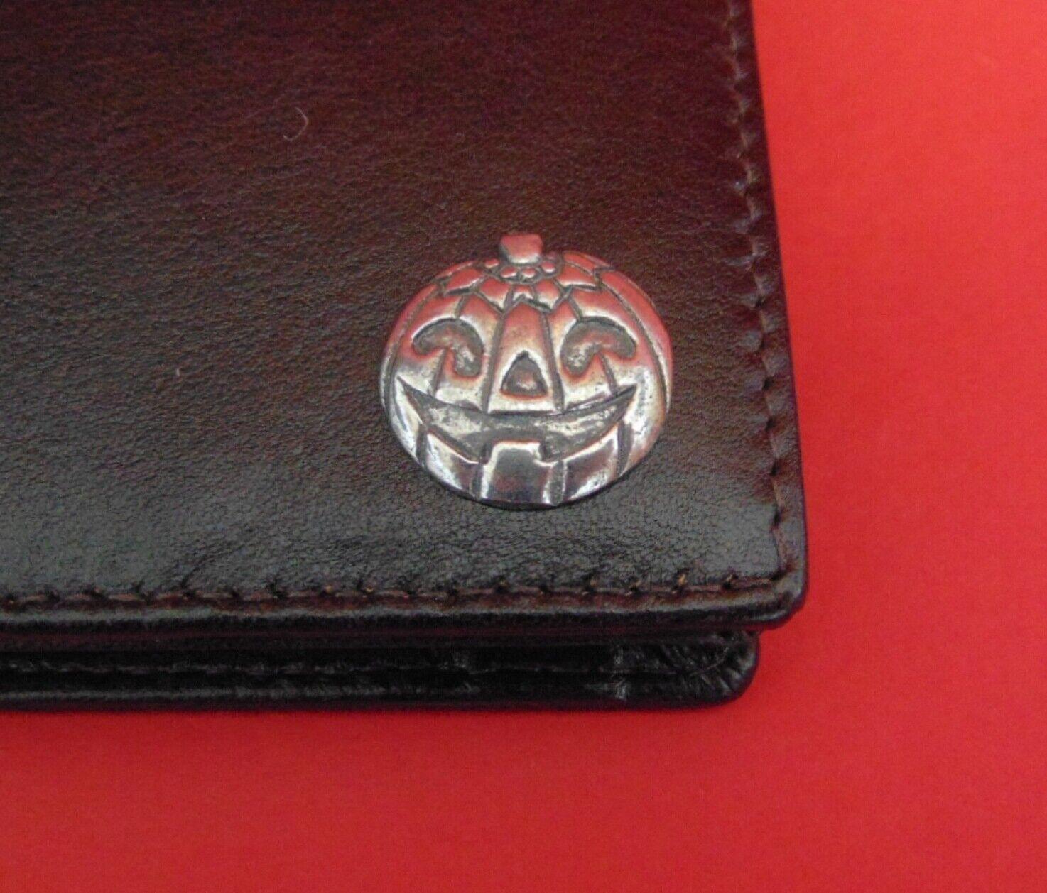 Pumpkin Design Dark Brown Real Leather Wallet Halloween Gift Dad Christmas Gift