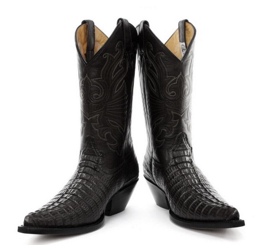 Grinders Carolina schwarz Western Cowboy Real Leder Stiefel with crocodile pattern