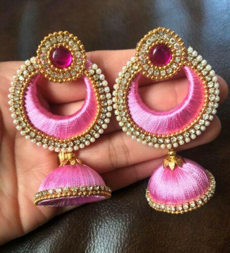 Designer Silk Thread Jewellery for wedding Earring Light Pink heavy long Jhumka