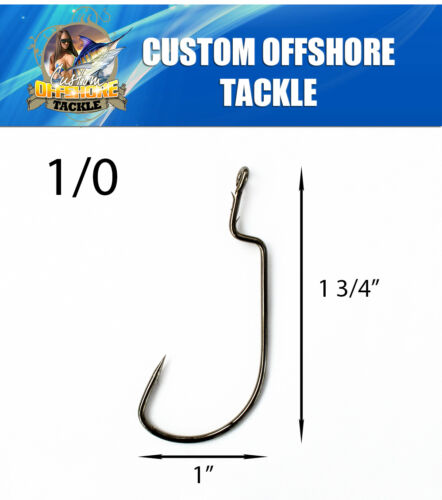 100 Size 1//0 Custom Offshore Tackle Non Offset Extended Shank Worm Hooks Black
