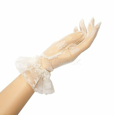 "25cm 10"" Wrist Length Lace Gloves Evening Prom Ball Party Wedding Bridesmaids"