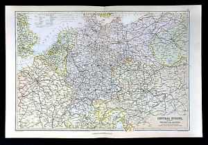 Map Of Holland And Germany.1883 Weller Map C Europe Germany Austria Holland France Switzerland