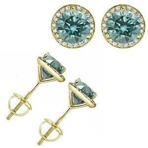 1-Carat-Blue-Diamond-Halo-Solitaire-Screw-Back-Martini-Earrings-14K-Yellow-Gold