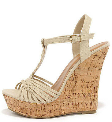 Womens Taupe Woven Wedge Sandals Platform T-Strap Buckle Cork Peep Open Toe Sexy