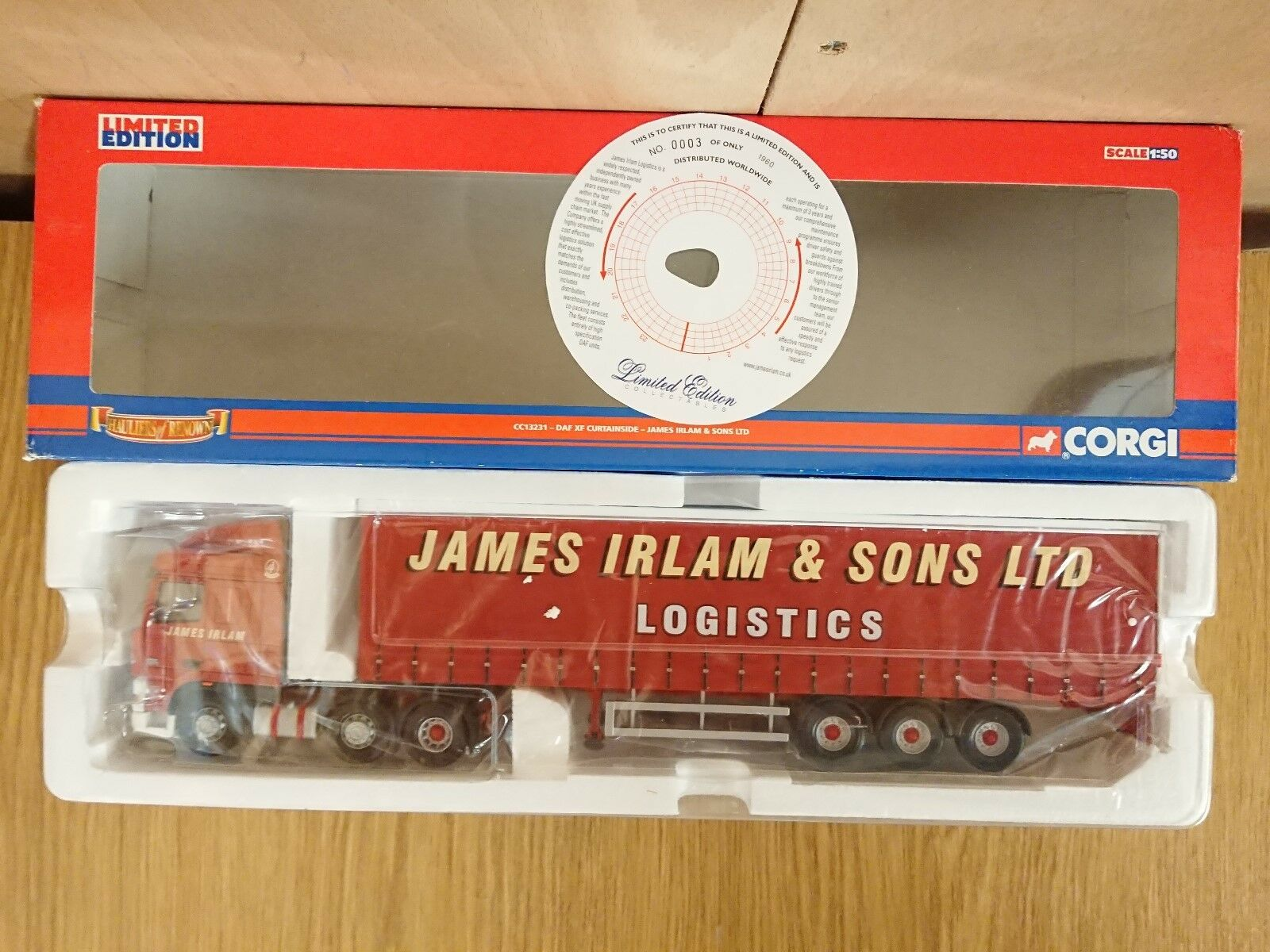 Corgi CC13231 DAF XF Curtainside James Irlam & Sons Ltd Ed No. 0003 of 1960