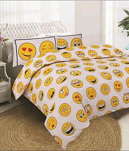 Image Is Loading White Smiley Face Emoji Duvet Quilt Cover Bedding