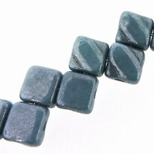 Blue Luster 6mm Silky Diamond Glass Czech 2-Hole 40pc Tile Beads