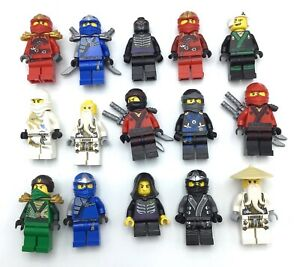 LEGO-LOT-OF-15-NINJAGO-MINIFIGURES-KAI-JAY-ZX-GARMADON-LLOYD-COLE-NINJAS-MORE