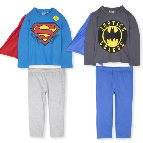 BATMAN SUPERMAN Ragazzi Pigiama Pigiama Pjs Set Super Eroe Cape Costume 2-8 anni