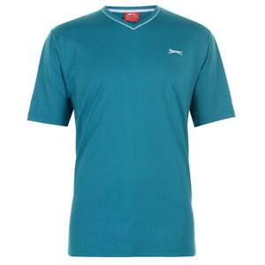SLAZENGER-Herren-T-Shirt-V-Ausschnitt-Sport-Fitness-Sommer-Freizeit-Tuerkis-NEU