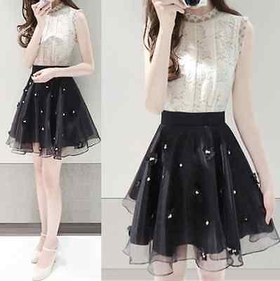 Summer New Fashion Korean Style Women's Sweet Lace Party Slim Dress Skirt Q421