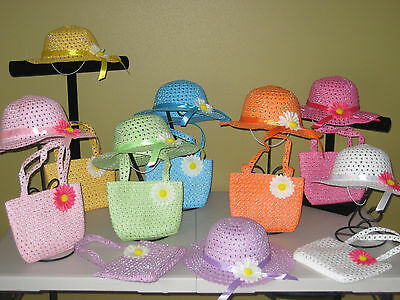 Girls Sun Hat Bonnet Purse Set with Flower 2T 3T 4T 5T MANY COLORS Dress Up