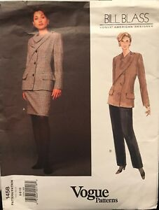 Vogue-1458-Bill-Blass-Pattern-American-Designer-Jacket-Skirt-Pants-Uncut-Sz-6-10