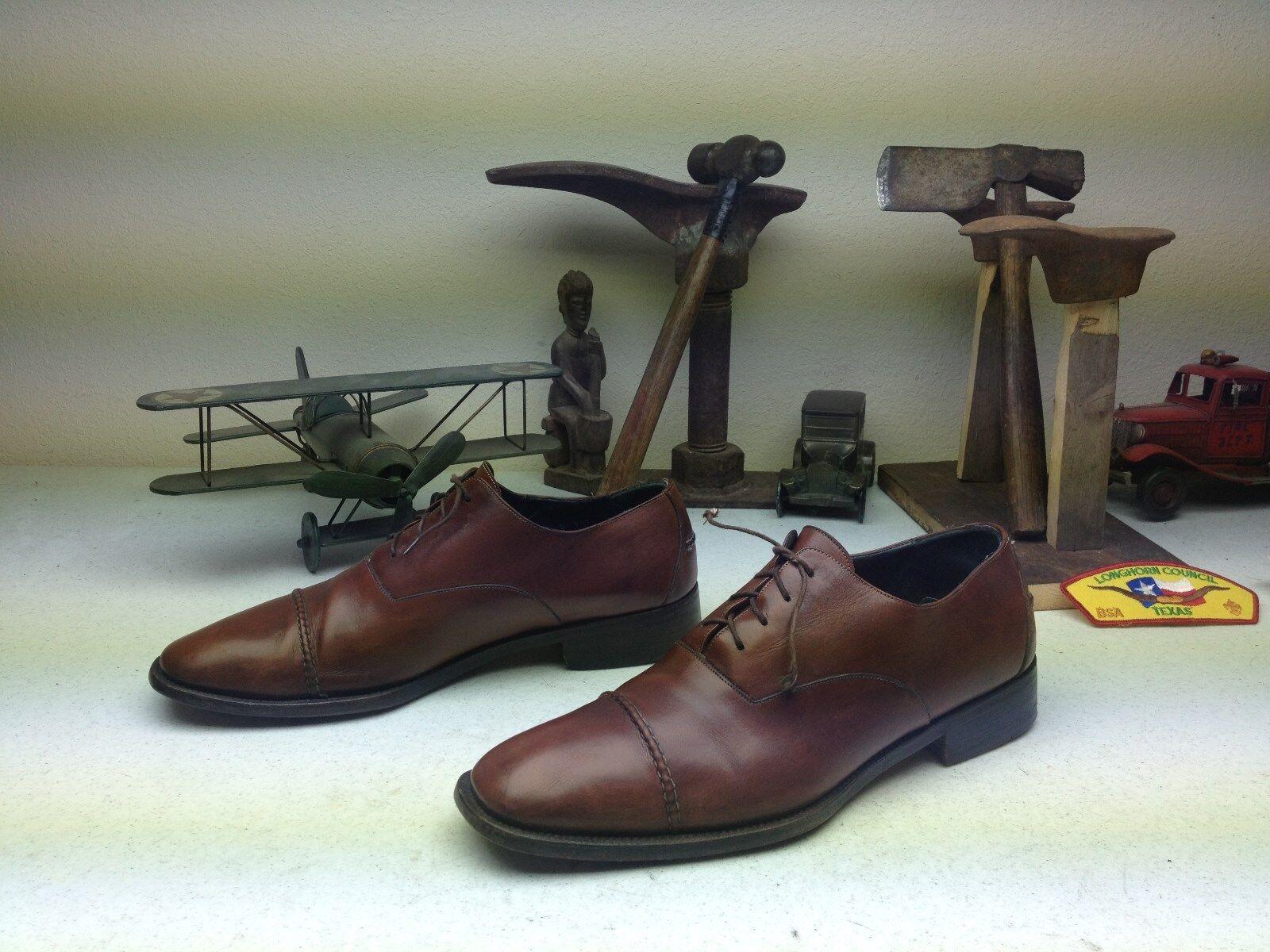 Hecha a mano en Italia Cole Haan City de la puntera de cuero marrón zapatoslace Hasta D