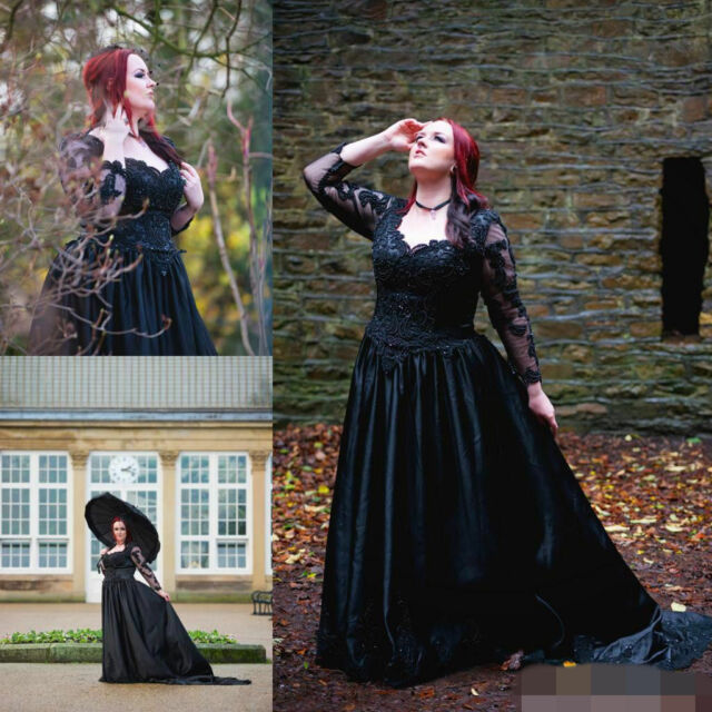 Plus Sizes Gothic Wedding Dress Black Tulle A Line Long Sleeve Bridal Gowns