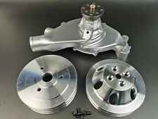 Bbc Big Block Chevy Aluminum Short Water Pump With23 Groove Crank Pulleys 396 454