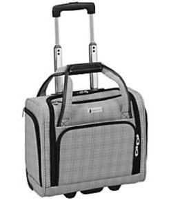 London Fog Devonshire Black And White Plaid Under Seat Rolling Bag Ebay