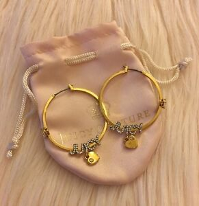 9cfd86b6ec2ef Details about Authentic Juicy Couture Gold Color Crystal Logo Heart Charm  Hoop Earrings
