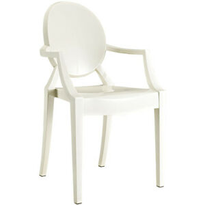 Merveilleux Image Is Loading Modern Ghost Chair With Arms In White Polycarbonate