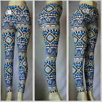 Fashion Colorful Pattern Wave Leggings One Sz Skinny Women Slim Stretch Pants 4