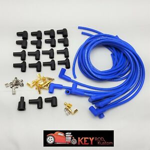 Details about 8 5mm blue 90 degree spark plug wires HEI Chevy SBC BBC Ford  Mopar 350 454 V8