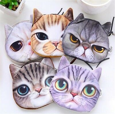 Cute Retro Wallet Boy/'//Girls/' Gift Cat Face Pattern Coin Purse Zip Bag 1PCS