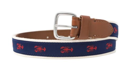 NWT Navy//Red Lobster Embroidered Fabric//Leather Belt J.Crew Factory Men/'s 32