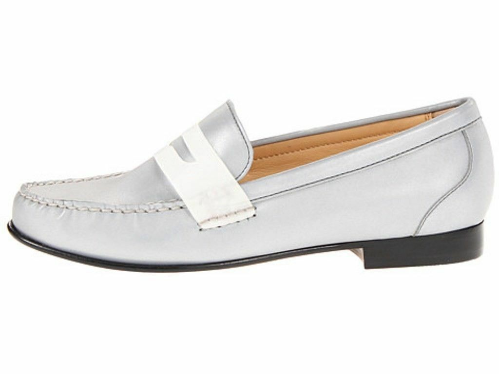 Cole Haan Monroe  Argento Silver Reflective Penny Moccasins Loafers 6.5