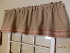 Burlap Valance With Rustic Jute Trim 16 X 72 Handcrafted Ebay