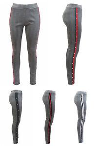 Clothing, Shoes & Accessories Damen Leggings Karo Hose Schwarz Weiß Seitlichen Kontrast Streifen Perlen 88311 Moderate Cost Leggings