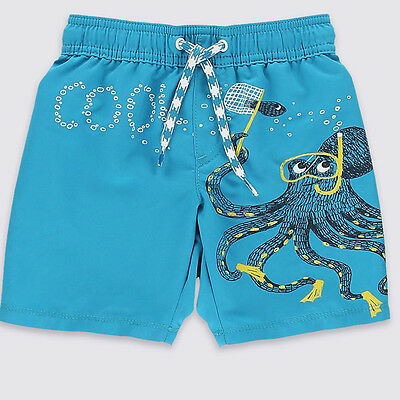 BOYS SWIMMING SHORTS EX M*S DRAWSTRING AGES 12 MONTHS TILL 14 YEARS