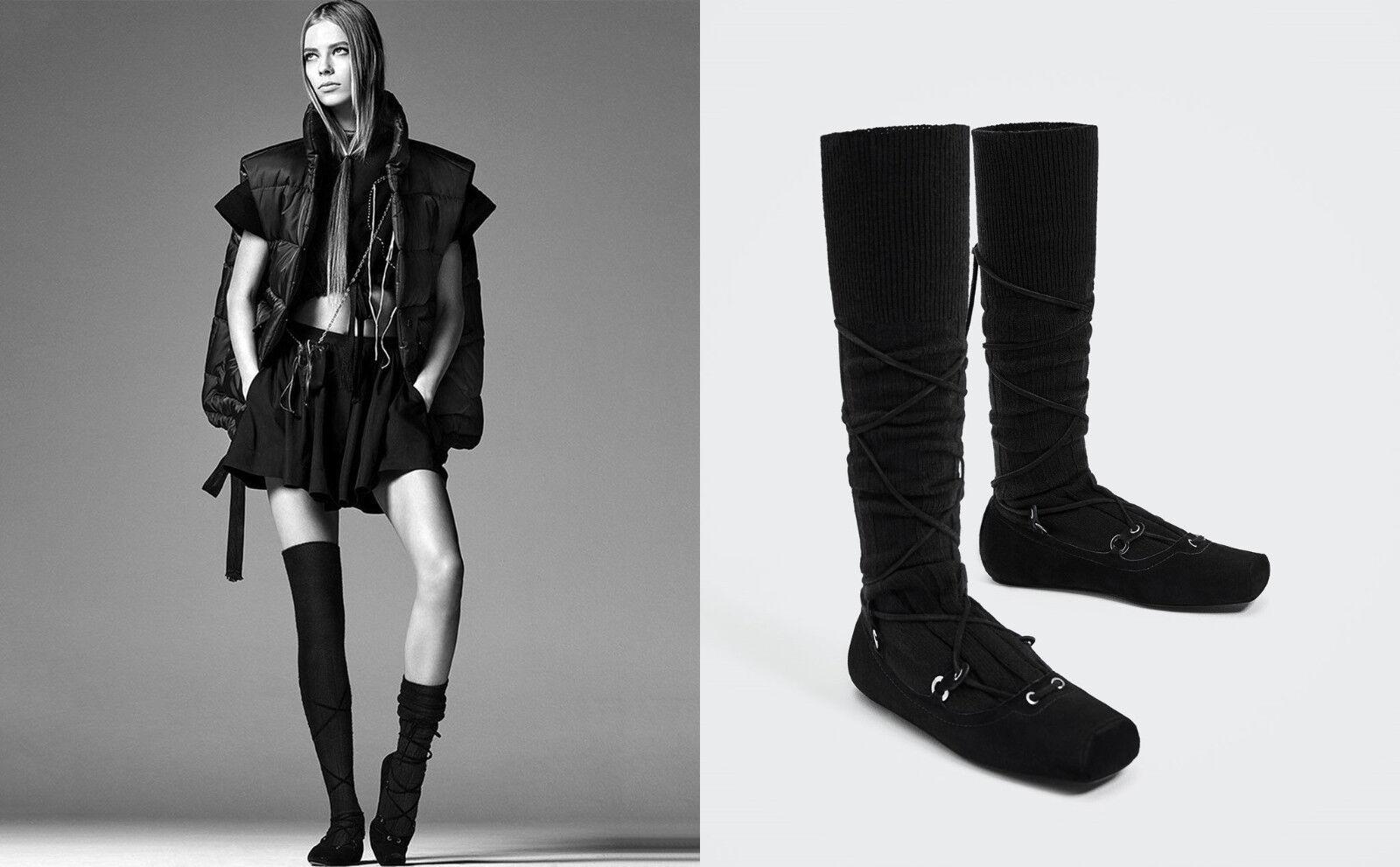 Zara Studio cuero bailarina con alto caña 40 40 40 Leather socks style bailarinas  grandes ahorros