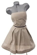 NEU RETRO 50er 60er PETTYCOAT ROCKABILLY PIN-UP POLKA DOTS  KLEID BEIGE 44