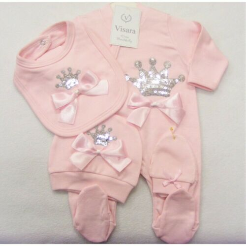 Stunning Baby Girls Spanish Romany Pink Set Sequin Crowns /& Ribbon Bows Outfit
