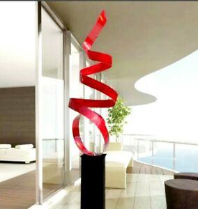 Modern Metal Sculpture Abstract Red Centerpiece Indoor Outdoor Decor Jon Allen