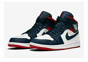 Details about Nike Air Jordan 1 Mid SE USA Olympic White Blue Red  852542-104 Men's or GS NEW