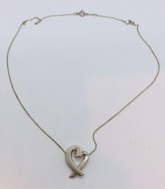 Tiffany Co Authentic Paloma Picasso Sterling Silver Heart Necklace For Sale Online