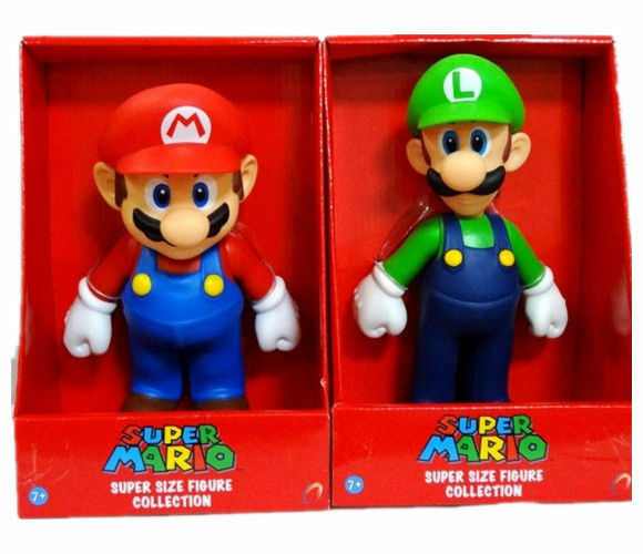 2 LARGE 24CM SUPER MARIO BRO & LUIGI GAME ACTION FIGURE FIGURINES KIDS TOY GIFTS