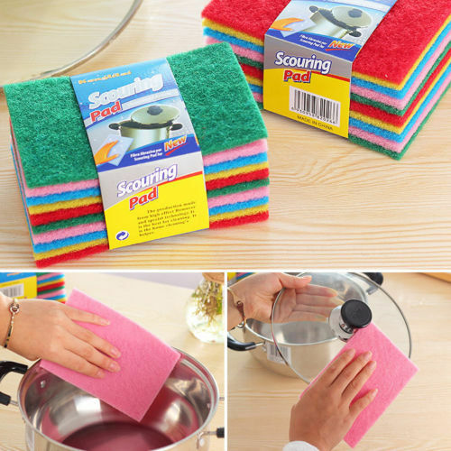 10X Scouring Pads Cleaning Cloth Dish Towel Sponge Scrubber Washing Brush Novel