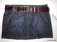 Nobo Juniors 7 Mini Skirt Dark Denim Jean Star Embroidered Back Pocket Chain